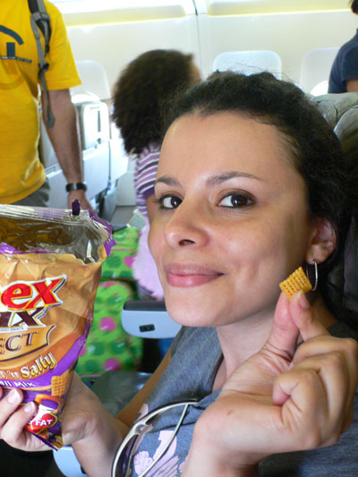 Gaby with the best ChexMix of her life.